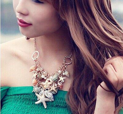 Boho chic casual морской пляж ювелирные изделия maxi ожерелье романтический starfish раковину большое заявление ожерелье женщины bijoux coliers femme(China (Mainland))