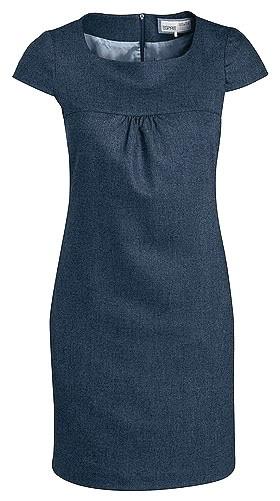 ESPRIT, Herringbone Wool Blend Shift Dress, Navy