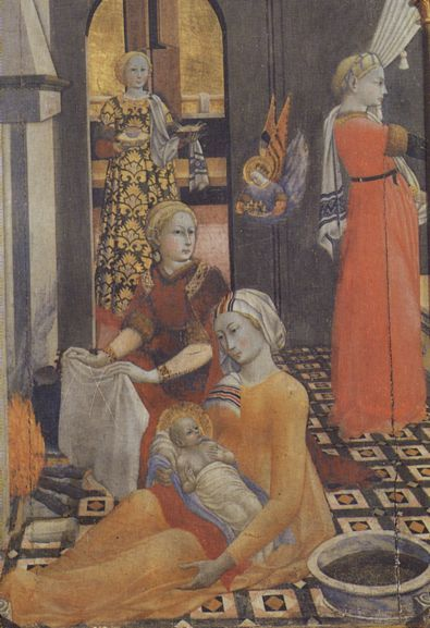 The baby Ippolita Sforza,daughter of Galeazzo and Bianca Maria with her mother represented as  the Virgin Mary and the infant Christ
