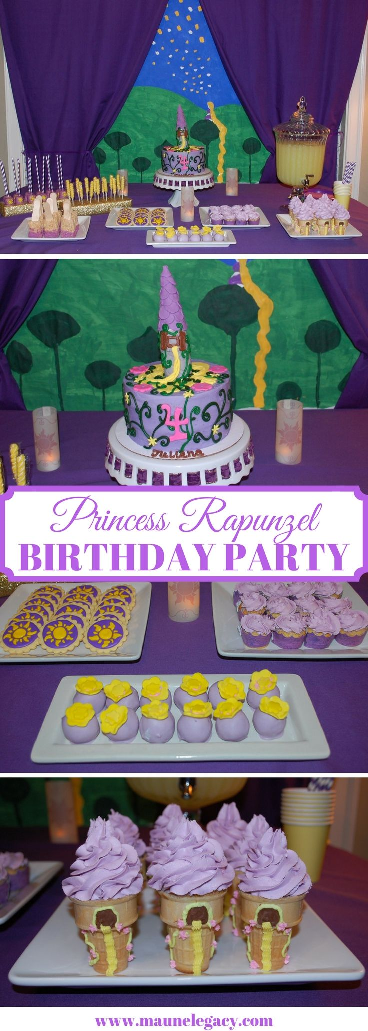Princess Rapunzel Birthday Party is a perfect party theme for a Disney loving girl. Special guest Princess Rapunzel was on hand to sing songs and dance with the girls while they enjoyed yummy Tangled themed treats.