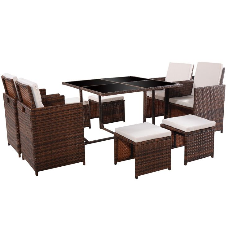Tangkula 9 PCS Black Patio Garden Rattan Wicker Sofa Set Furniture Cushioned W/Ottoman (Brown). Including 4 single sofa, 4 ottomans, 1 dining table and cushions for chairs. Seat with back and seat cushion for comfort. Cushion with removable cover for cleaning. Table with four glasses. Perfect for indoor and outdoor.