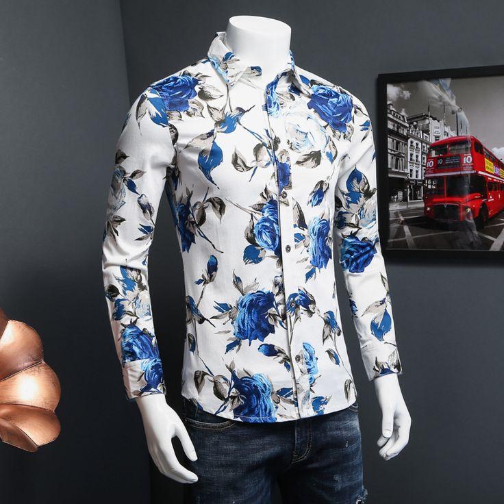 2017 Men Shirt Spring Fashion 5XL-M Long Sleeve Mens Floral Shirt Brand New Plus Size Slim Fit Casual Blouse Men Promotion