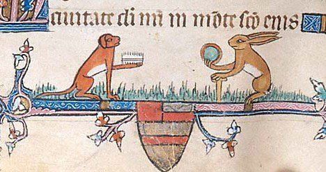 The Duel - Dog with comb confronting rabbit holding mirror (@MorganLibrary, MS M 700)