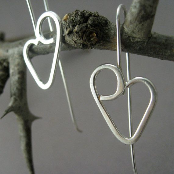 Sterling Silver Heart Earrings, Valentine's Day, Modern Simple and Artisan Handmade, Dangly and OOAK to order, Priority Shipping on Etsy, $38.00