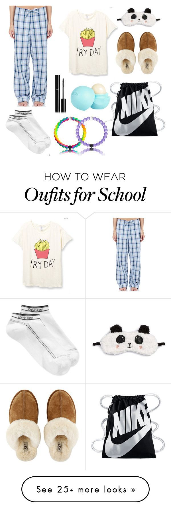 Its PJ day at school!! by simplymollyrose on Polyvore featuring Steven Alan, UGG Australia, P.J. Salvage, Chanel, River Island, NIKE and Calvin Klein