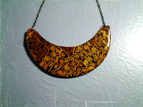 necklace polymer clay and resin etno gepard by PolySanAntoni, €7.00