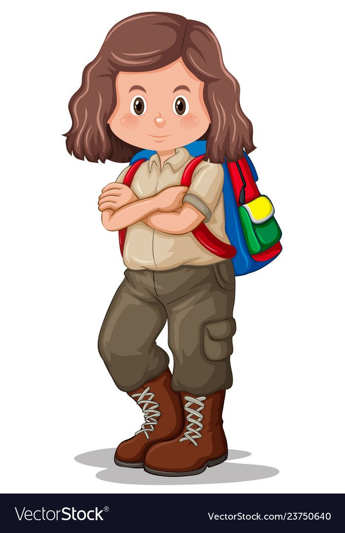 A Brunette Girl Scout Character Vector Image On Vectorstock Character Design Girl Cartoon Character Design Girl Scouts