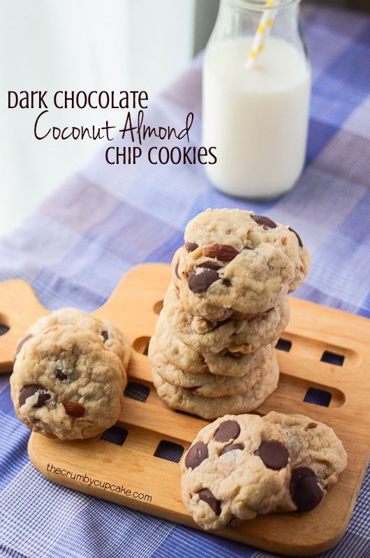 Coconut Almond Dark Chocolate Chip Cookies | Soft, flavorful chocolate chip cookies, stuffed with dark chocolate chips, coconut, and chopped almonds - a Mounds/Almond Joy hybrid!