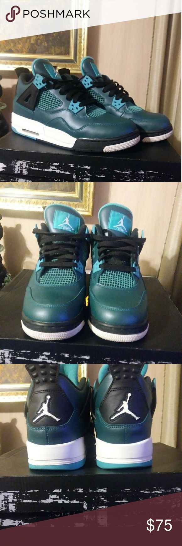 Jordan Retro 4 30th Anniversary Basically new, wore maybe 3 ×'s. Jordan 4 Retro 30th Anniversary. Teal & black. Size 7y which also is 8 mens/8.5 women's. No heel drag, no major flaws. White parts are still nice & white, NO YELLOWING OR DIRT ON WHITE PARTS. Very, very lite dirt on soles but should clean right & does not affect appearance while wearing. Nice pr of Jordans. Has original box, but its damaged from storage, shoes are NOT effected. Please feel free to ask questions before…