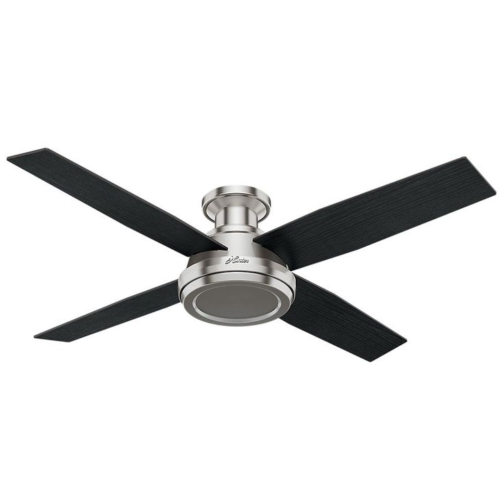 Hunter Fan Dempsey Collection 52 Inch Low Profile Brushed Nickel Ceiling With 4 Black Chocolate Brown Oak Reversible Blades 3 Sds