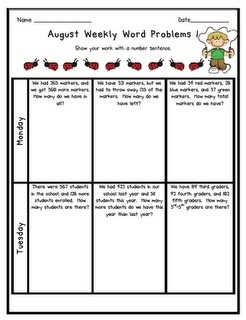 Weekly Word ProblemsEducation Teaching Mis, Problems Repin By Pinterest, Work Stories, Stories Problems Repin, Morning Work, Investigation Book, Grade, Mornings Work, Teachers Stuff