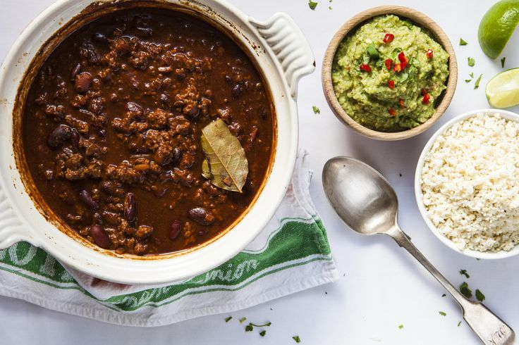 Chilli con carne is one of my all time favourite meals, and I love to try out new ways of making it. Traditionally we always used to have chilli on a Saturday night, piled onto tortilla chips with cheese melted over the top, and homemade guacamole on the side. This is a healthier take on a delicious chilli meal- I serve this with 'brocamole' ...