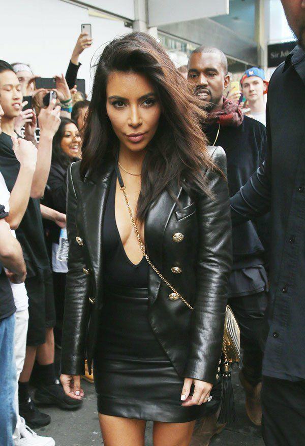 Womens street style: kim kardashian balmain black leather ...