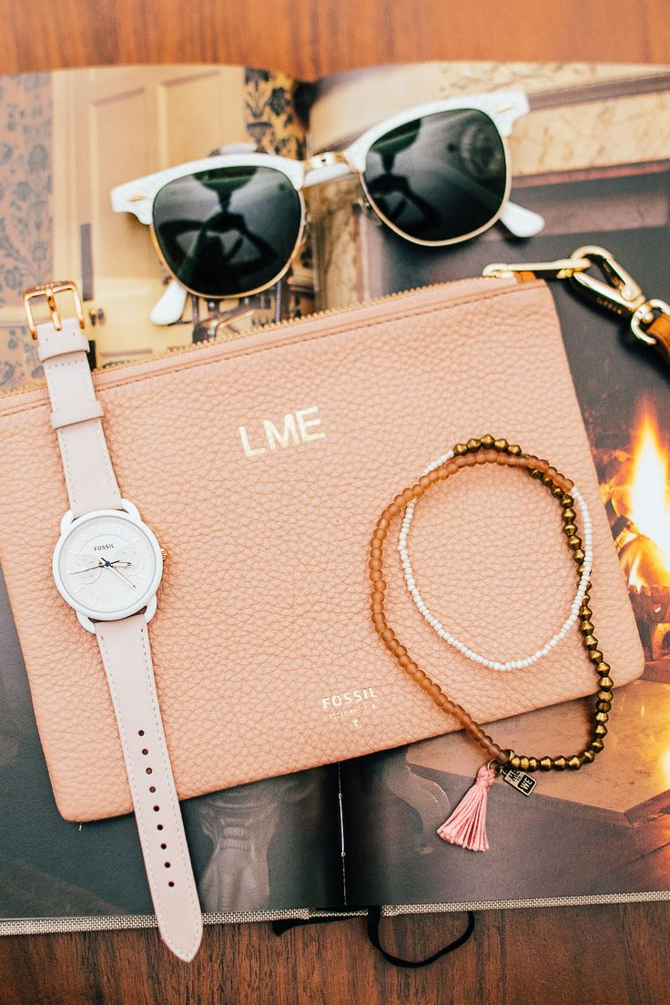 Sunnies, a boyfriend watch, Fossil x ME to We hand beaded bracelets and a clutch that holds it all. What more could mom want this Mother's Day? via @tomboyKC