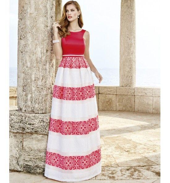 Vestido de fiesta largo con falda estampada a rayas