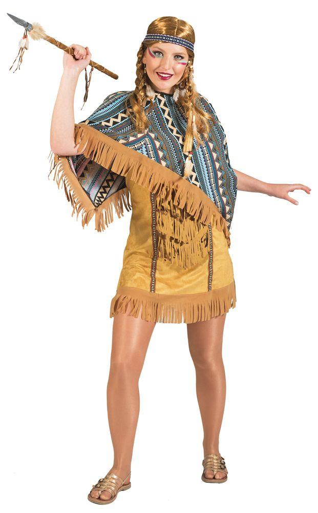 Verwandeln Sie sich in eine Indianerin des noch größten existierenden Indianerstammes Nordamerikas zu Karneval, Mottoparty oder Theaterauftritt! Denn mit diesem hübschen kurzen Indianer Kleid mit Poncho fallen Sie nicht nur Ureinwohnern auf!
