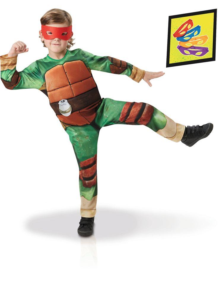 Disfraz Tortugas Ninja deluxe- TMNT™: Este disfraz incluye traje y 4 antifaces (zapatos no incluidos).El traje es verde con caparazón marrón de gomaespuma en la espalda.Hay una granada dibujada en un cinturón. El...