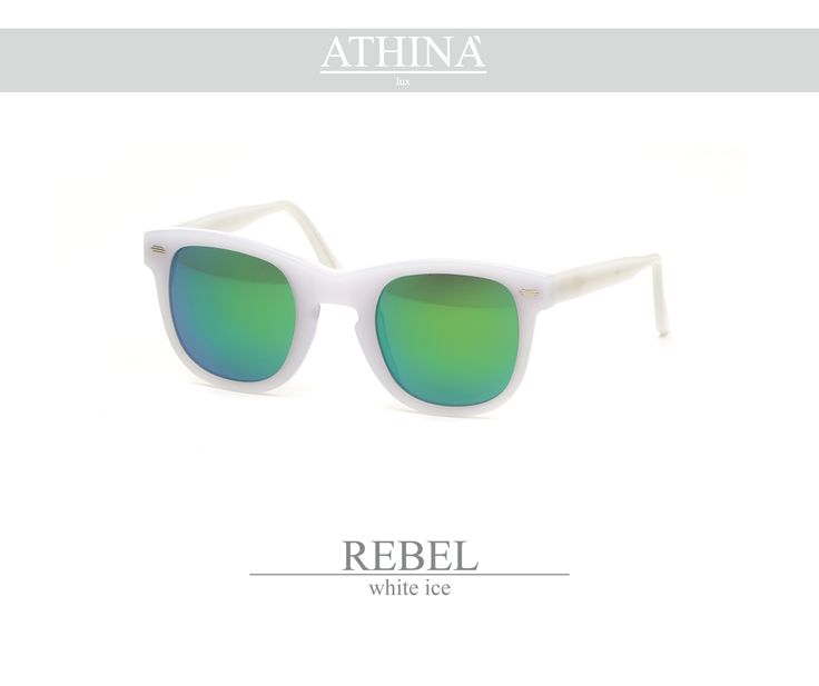 Mod. REB0404M02 A storic sunglasses re-visited in a modern perspective with white ice frame to be always cool and up with times. Acetate of cellulose here is a must. Realized with mirror green lenses.