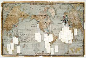 Jamie Shovlin A map with pins to show migration from different places in one family.