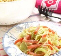 pasta en crema demaíz y vegetales