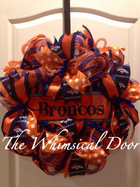 Denver Broncos NFL Football Decomesh Wreath Orange Blue Mother's Day Father's Day Draft Day on Etsy, $55.00