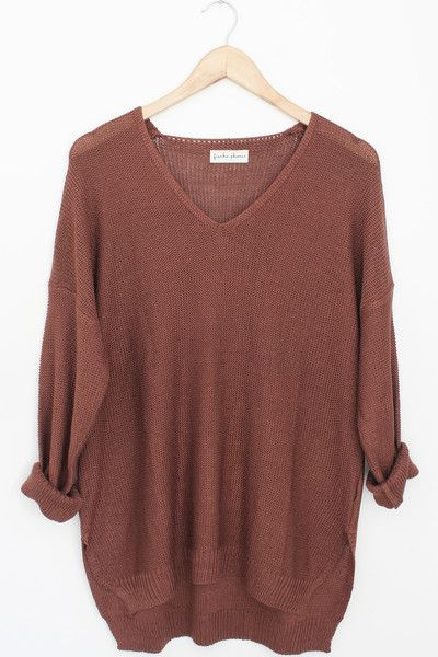 """Details Size Shipping • 100% Acrylic Wool • Knit V-Neck oversize sweater with side slits • Wash Cold • Line dry • Imported • Measured from small • Length 26.5"""""""