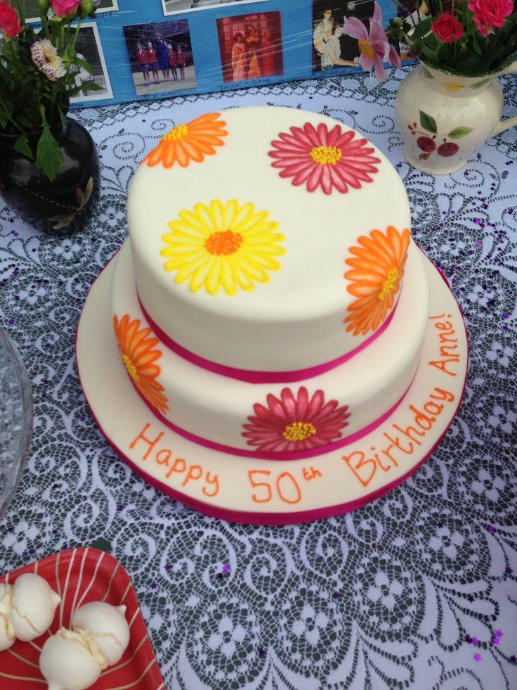 Cake Decor Daisy : 50th birthday daisy cake - using brush embroidery ...