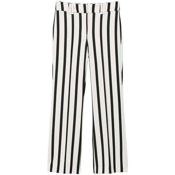 Straight Striped Trousers ($51) ❤ liked on Polyvore featuring pants, white striped pants, mango trousers, zip pants, straight pants and side pocket pants