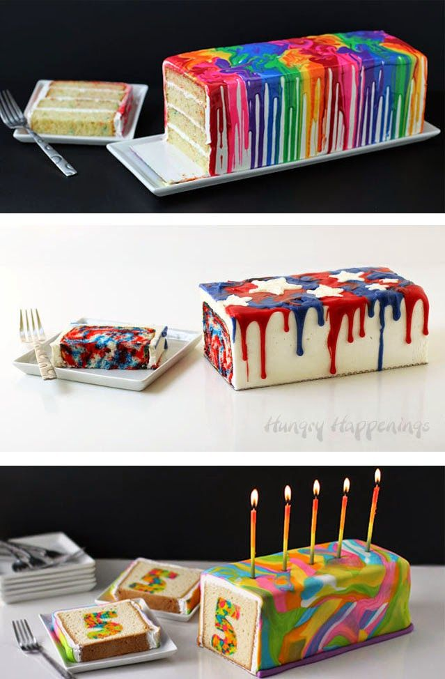 Hungry Happenings: 4th of July Dessert - Red, White and Blue Tie-Dye Cake