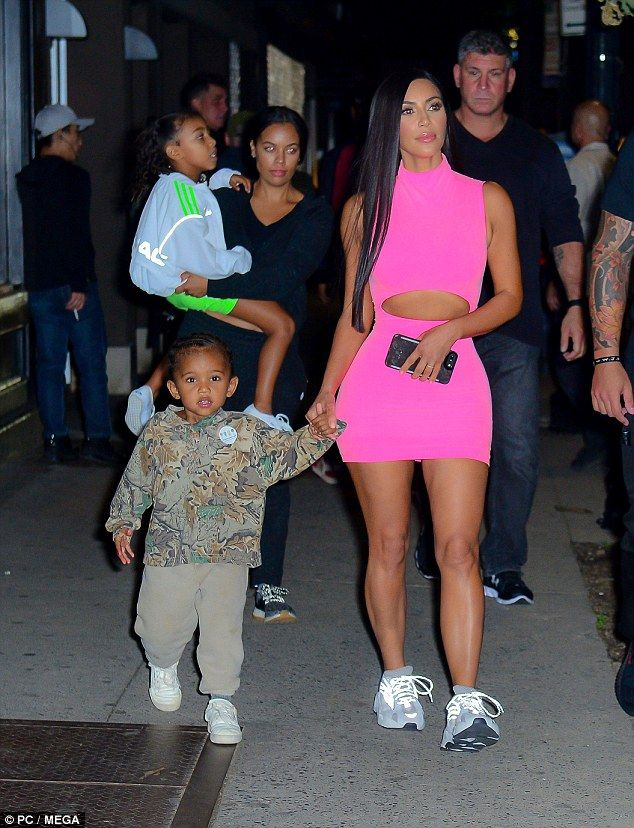 Kim Kardashian with North, Saint and Chicago in NYC