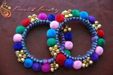Indian bracelets/bangles. Wear with jeans and white t shirt for a splash of color. Ciara - Multicolored Ghungroo Bangle