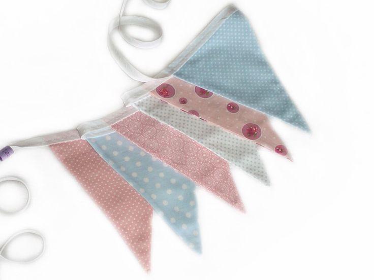 festoni in tessuto di cotone, azzurro, rosa : Cameretta bambino, bebè di lutteluud