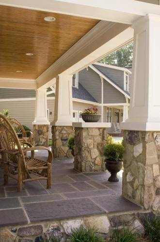 Stone columns and tapered posts for Craftsman home