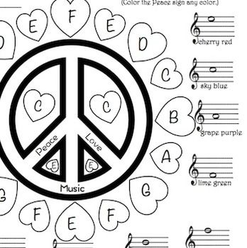 Students will enjoy coloring this hearts and peace sign color sheet at Valentines Day or any time of year while learning and reviewing the note names in treble clef. Students color spaces labeled with letters which correspond to notes on the treble staff.