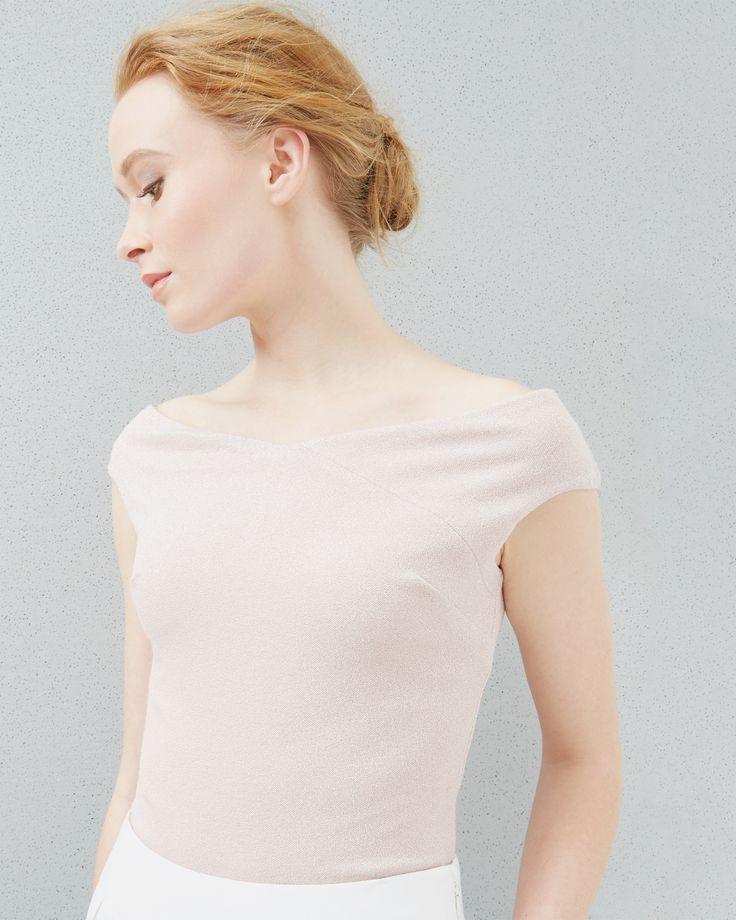 Haut pailleté col Bardot - Rose layette | Hauts & T-Shirts | Ted Baker FR