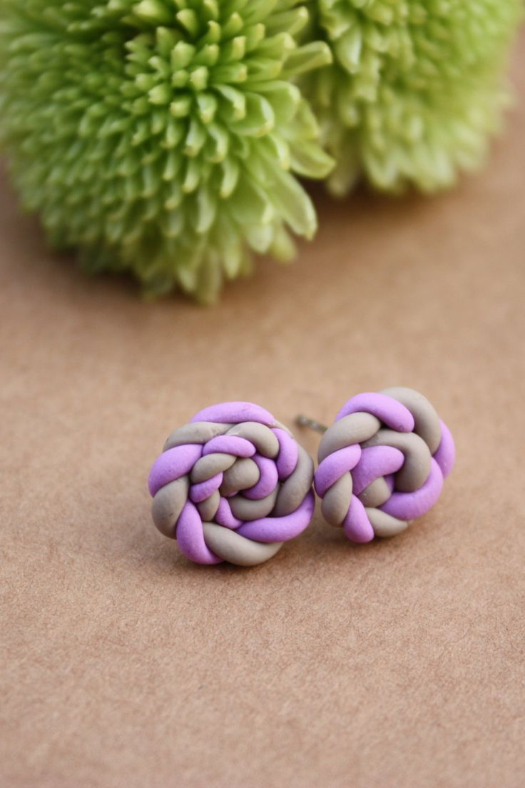 Braided rose swirl grey and purple polymer clay earrings by CrazyLikeFoxShop on Etsy