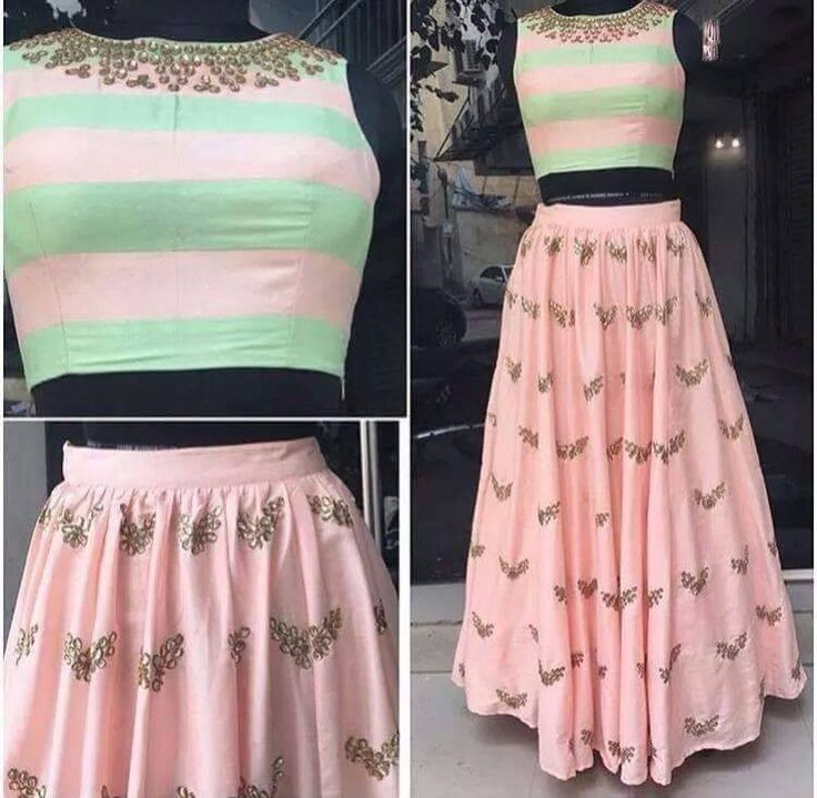 Pink designer skirt with crop top. The fabric used is georgette. We will contcat you to get the measurements.