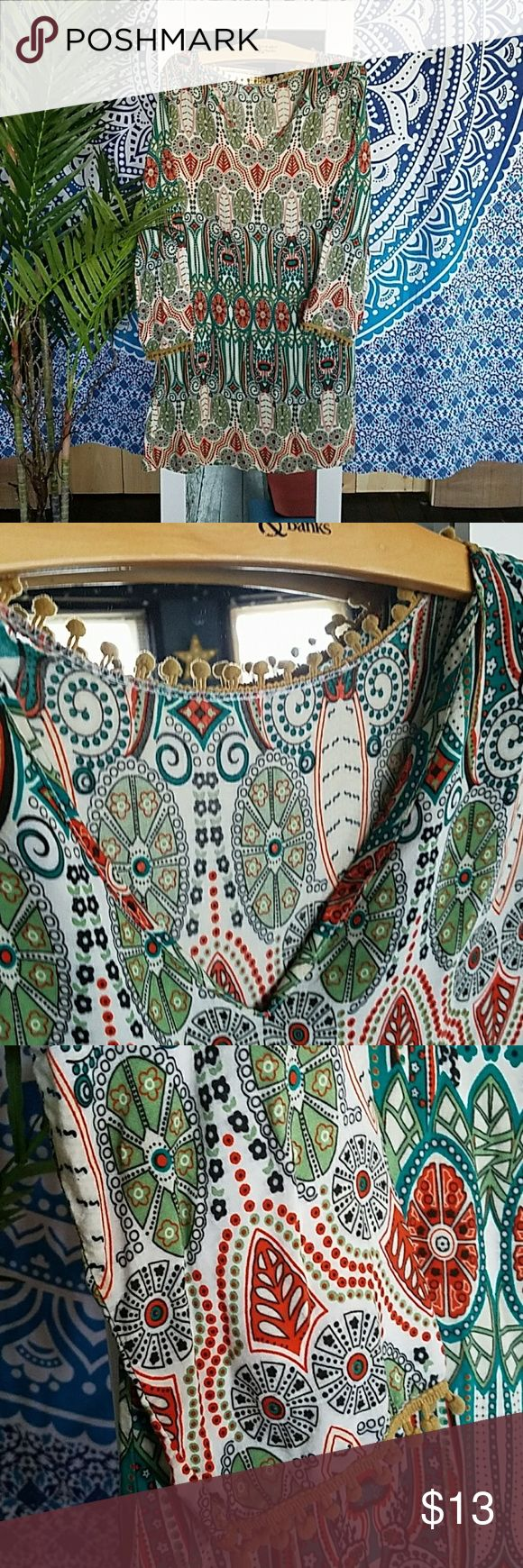 Boho festival dress💕 Amy Fashion 💕 boutique boho festival💕 dress💕 flowing and lightweight💕 beautiful pattern💕 v-neck💕 long sleeves💕 intricate ball crochet work adorns the sleeves💕 and around the back of collar💕 so unique💕 worn once but was too big💕 Amy Fashion Dresses