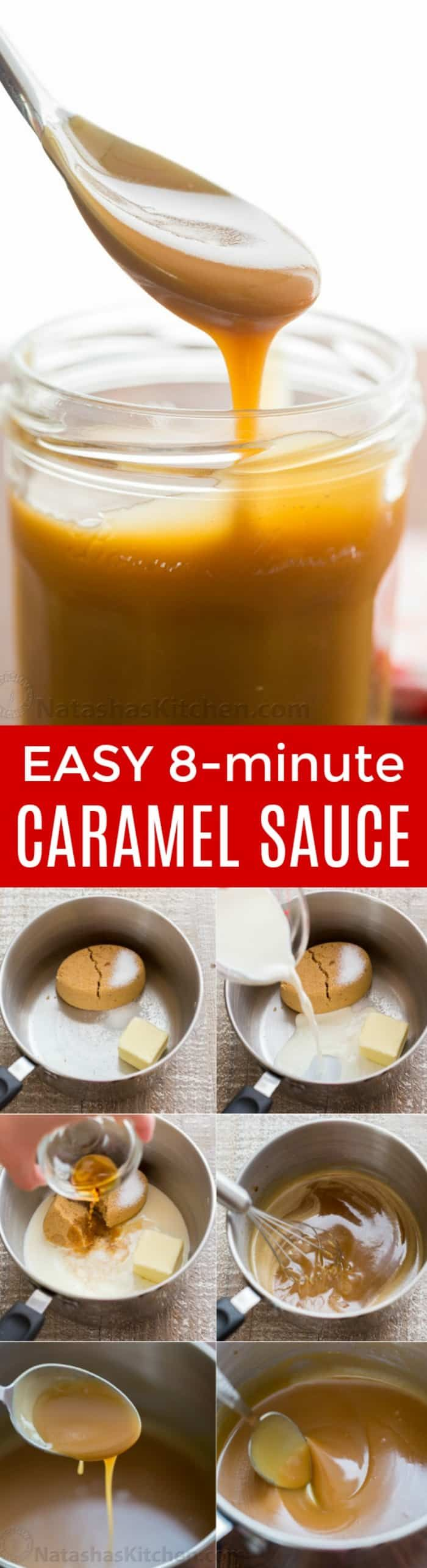 Homemade caramel sauce is so simple, you'll never want store-bought caramel sauce again! Easy 1-step, 5-ingredient salted caramel sauce recipe. | natashaskitchen.com