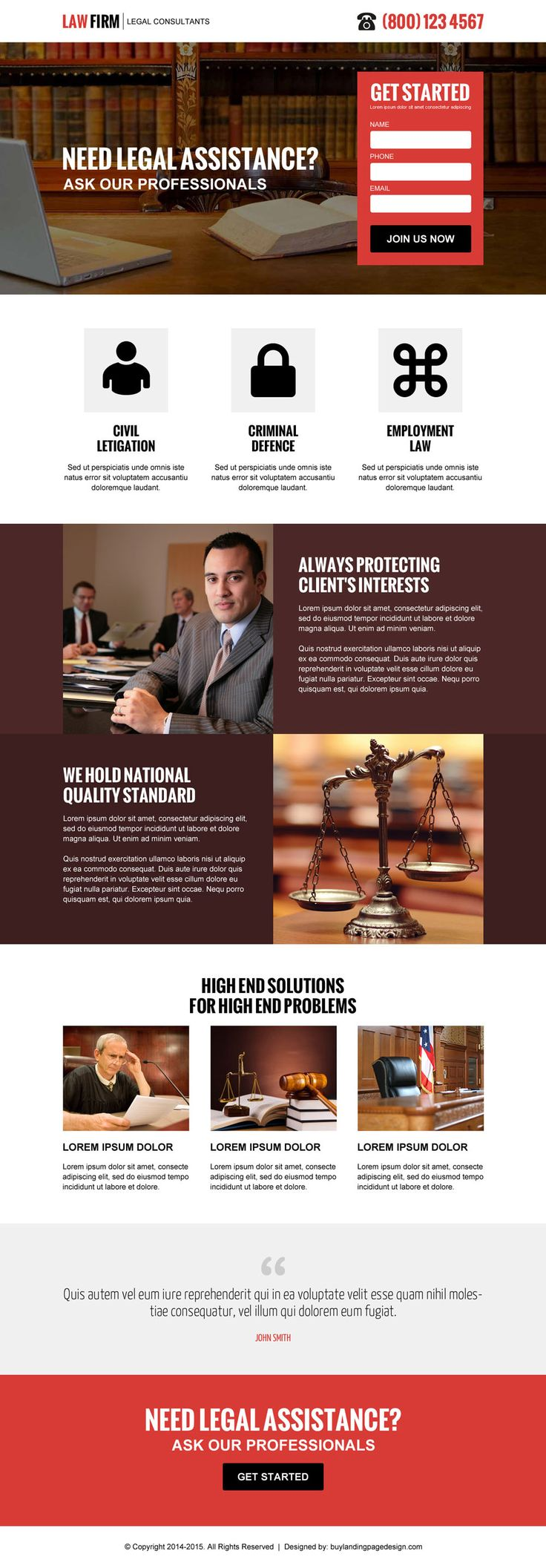 law firm clean and professional lead capture responsive landing page design