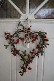 Christmas 2013 Decor: heart shaped pine wreath