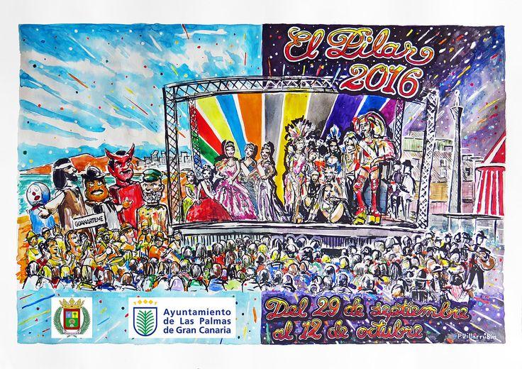 https://flic.kr/p/LkoPsQ | Portada del Programa de las Fiestas del Pilar 2016_300M | Mi dibujo para la portada del Programa de las Fiestas del Pilar en el barrio de Guanarteme de Las Palmas de Gran Canaria. Día / Noche, Cabalgata / Gala. Acuarelas y tinta.