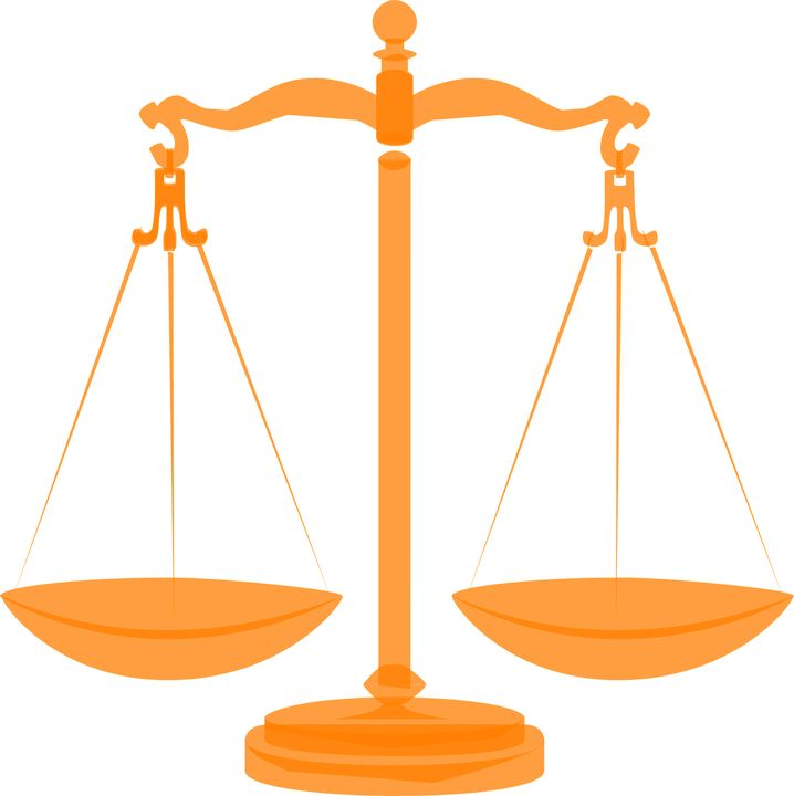 Scales, Justice, Balanced, Orange, Gold, Empty, Weight