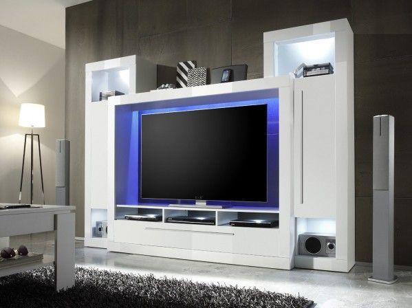 moderna TV stena v visoko sijajni beli barvi z dvojimi vrati, predalom in tremi policami za multimedijo TV prostor: ŠxVxG 148x86x39 cm, primerna za TV do 65 palcev Dimenzije: ŠxVxG 239x172x40 cm Brez LED osvetlitve  Primerjalno maloprodajno ceno najdete TUKAJ.