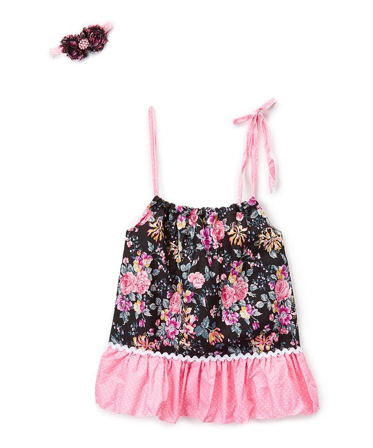 Black Floral Pillowcase Dress & Headband - Toddler & Girls