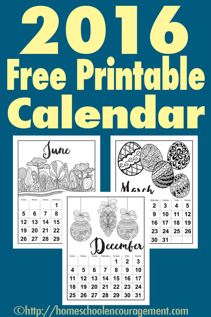 Free Printable Calendar for 2016 - Monthly Calendars with Adult Coloring Images perfect for your notebook, wall, or folder. Laminate after coloring for durability. For Adults, Teens, or Tweens.