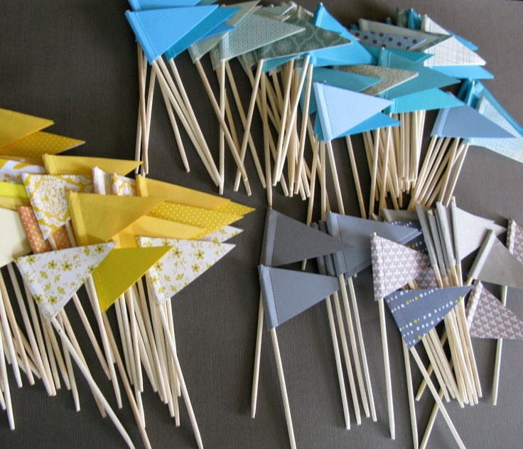 Mini flags as place cards