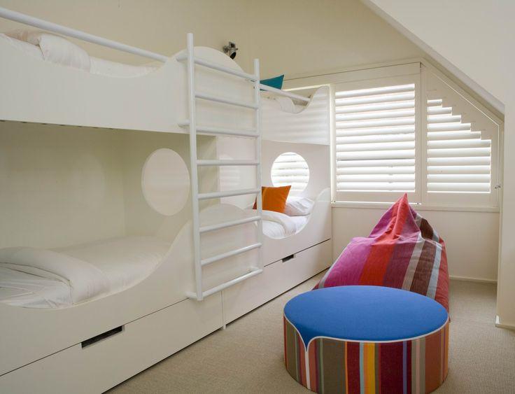 Kids bunk beds in Nautical theme. Sleeps 6. Brooke Aitken Design.