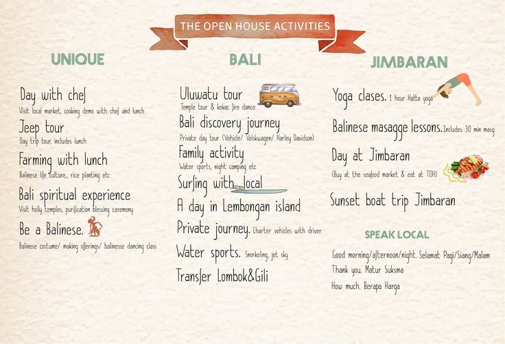 The Open House Bali, list of activities