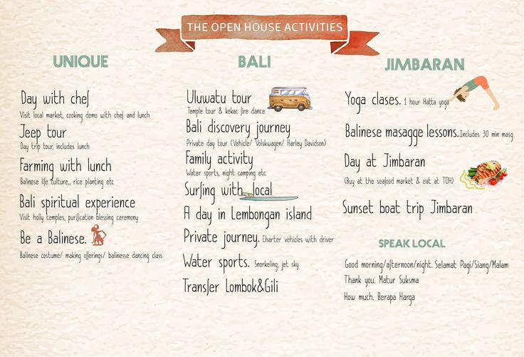 The Open House Bali, list of activities